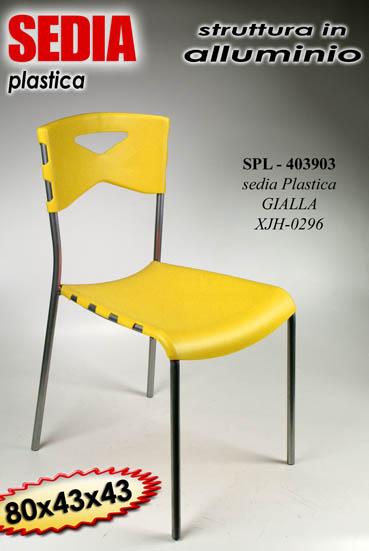 Set 4 pz sedia in plastica e alluminio gialla sedie for Sedia ufficio gialla