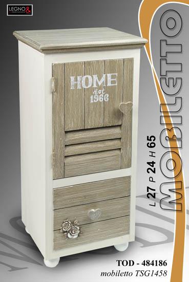 Mobile cassettiera shabby in legno h65 mobiletto cucina - Mobiletto cucina shabby ...
