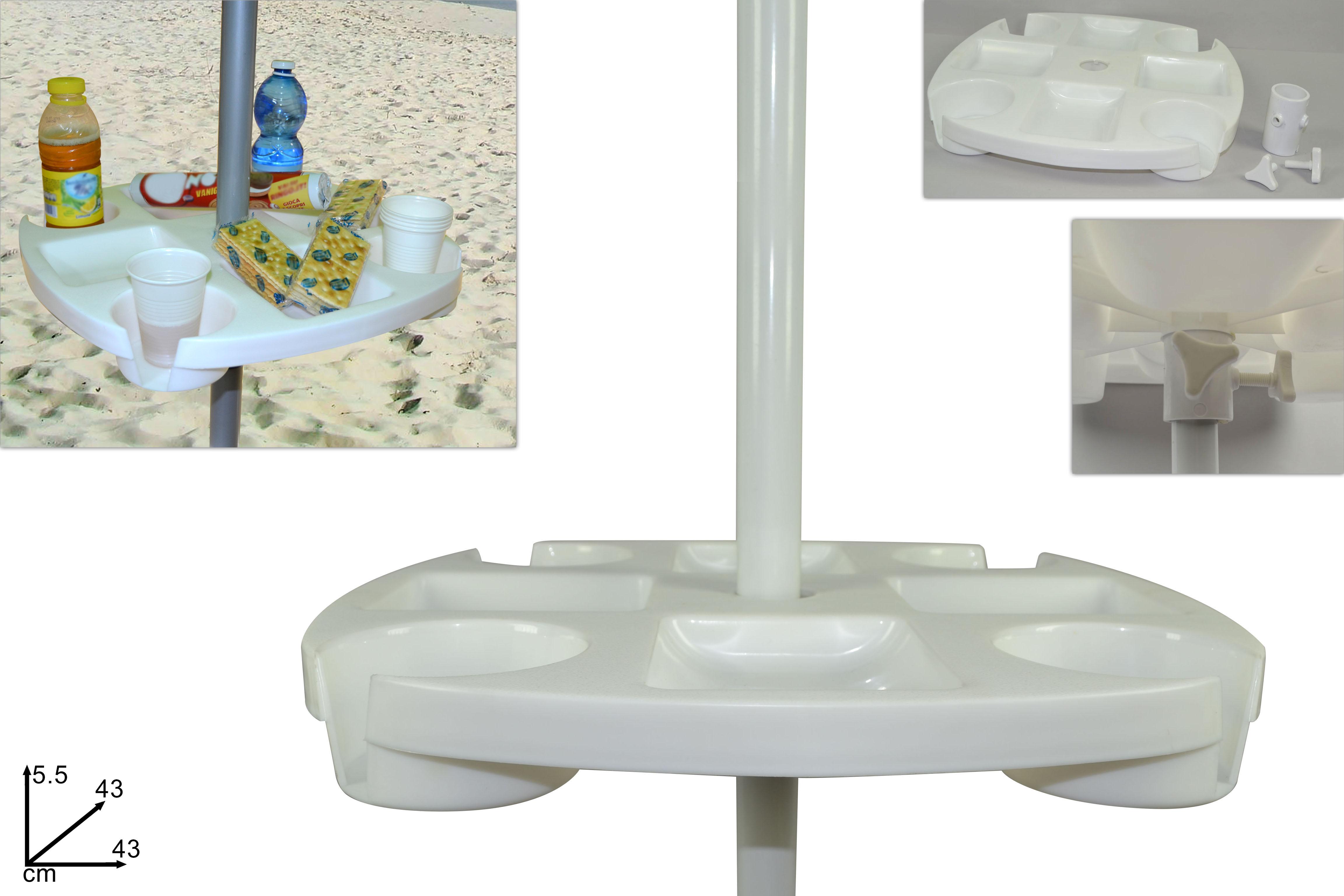 Tavolino porta bevande per ombrellone 43 cm bianco c14 ebay - Porta ombrellone ...