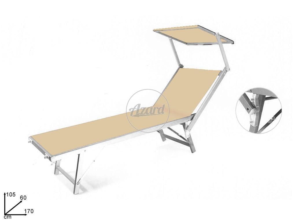 Lettino relax mare piscina in alluminio beige con parasole ebay - Lettino piscina alluminio ...