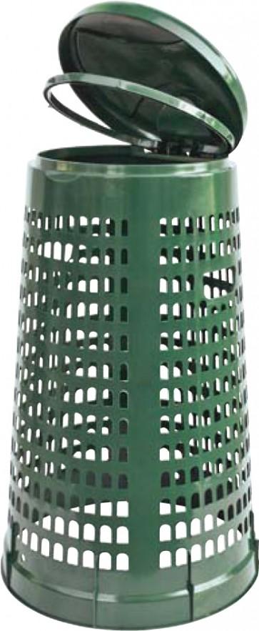 Pattumiera-tresp. lt.110 d.cm.51-38 h85 verde