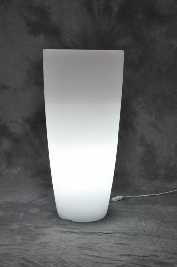 Vaso in resina luminoso home light tondo cm.33x70h bianco ghiaccio