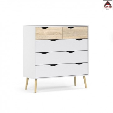 Cassettiera camera da letto moderna bianca kit mobile 5 cassetti design in legno