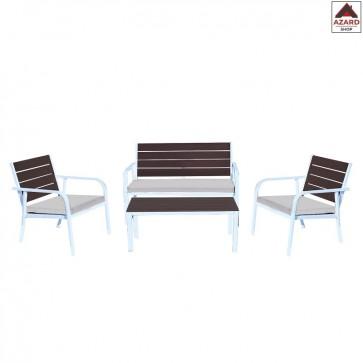 Set salotto da giardino per esterno divano poltrona tavolino salottino bianco