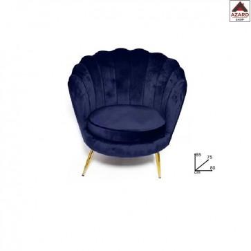 Poltrona poltroncina da salotto camera sedia relax in velluto blu design vintage