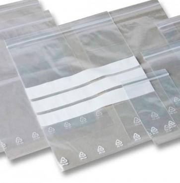 Set 6 buste con chiusura ermatica trasparenti con fasce scrivibili 250x350 mm