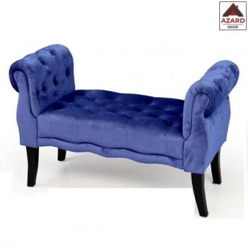 Panca camera da letto in velluto blu panchetta imbottita dormeuse divanetto