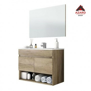 Mobile bagno sospeso in legno rovere 2 ante + vano a giorno in legno + specchio