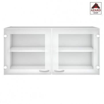 Pensile cucina bianco mobile sospeso vetrinetta in legno 2 ripiani ante vetro