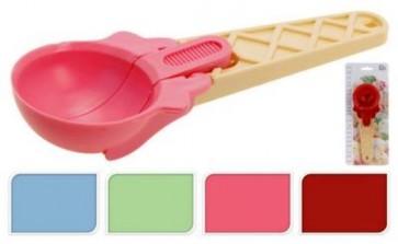 Cucchiaio gelato dosatore porzionatore 19x7x3 cm plastica 4 colori ass