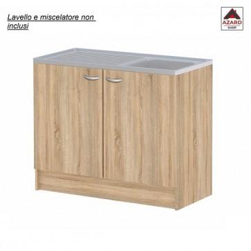 Mobile sottolavello cucina componibile in legno 2 ante rovere sotto lavello