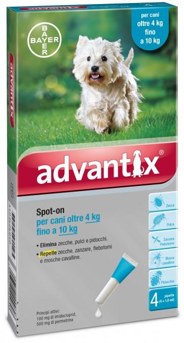 Advantix spot on per cani oltre 4 kg fino a 10 kg contro parassiti zecche