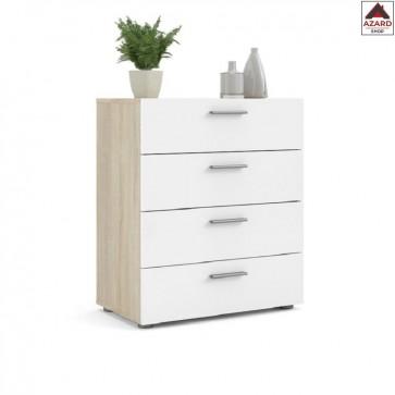 Cassettiera camera da letto bianca rovere moderna comò design in legno cassetti
