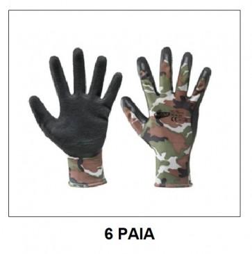 Pz 6 - Guanti lattice militari mimetici camouflage da lavoro taglia XL a norma CE