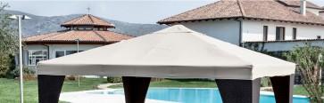 Telo copertura di ricambio per gazebo in legno 3x3 in pliestere bianco