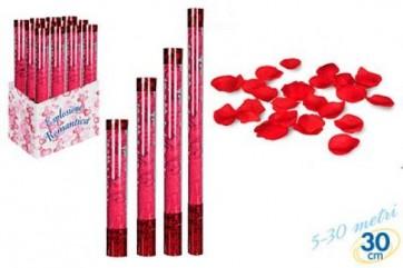 Tubo spara petali rossi cm.30 festa party scherzo coriandoli