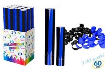 Tubo spara coriandoli nero - azzurri cannone party cm.30 per festa