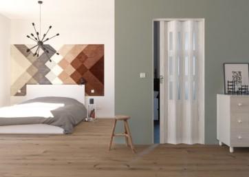 Porta a soffietto in pvc luciana legno pino sbiancato satinato 88,5x214 cm