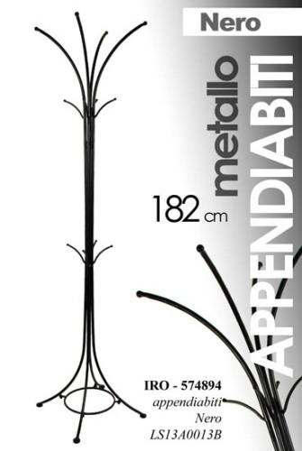 Appendiabiti ingresso nero h182 cm metallo attaccapanni borse