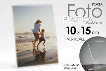 Cornice portafoto in plastica trasparente verticale 10x15 cm