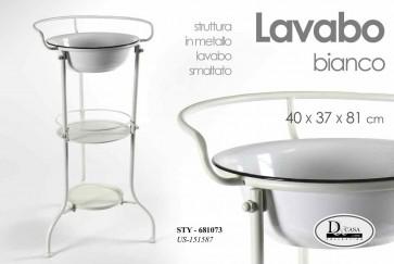 Lavabo smaltato bianco in metallo con ripiani accessori 40x37x81 arredo bagno