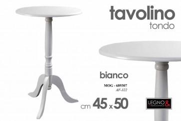 Tavolo tavolino tondo bianco in legno 45x45x50 cm