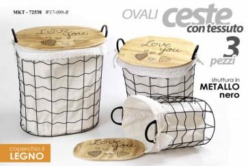 Set 3 ceste portabiancheria in tessuto ovali metallo nero coperchio in legno