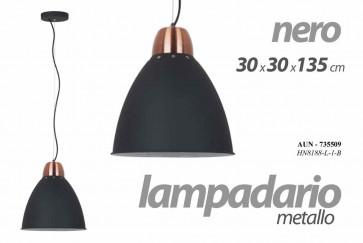 Lampadario camera in metallo nero cm 30 x 30 x 135 h