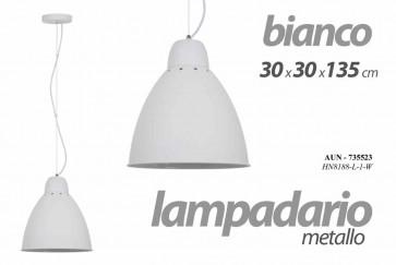 Lampadario camera in metallo bianco cm 30 x 30 x 135 h