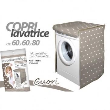 Copri lavatrice telo protettivo con zip 60x60x80 cm cuori