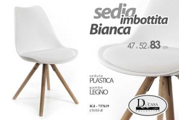 Sedia seduta in plastica imbottita bianca gambe legno design casa