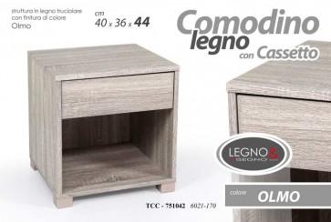 Mobile comodino comò con cassetto in legno truciolato colore olmo 40x36x44 cm