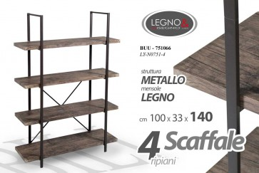 Scaffale 4 ripiani in legno colore noce 100 x 33 x 14 industrial