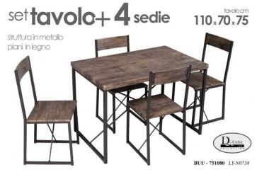 Set tavolo + 4 sedie struttura in metallo piani in legno 110x70x75 cm - 751080