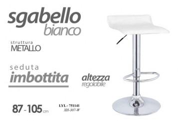 Sgabello in metallo con seduta imbottita bianco altezza regolabile 87-105 cm