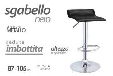 Sgabello in metallo con seduta imbottita nero altezza regolabile 87-105 cm