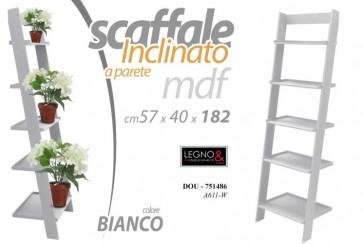 Scaffale inclinato in legno mdf bianco 5 ripiani 57x40x182 cm a parete