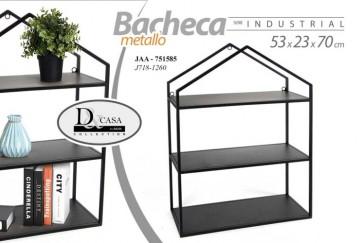 Scaffale bacheca libreria in metallo nero serie industrial 3 ripiani 53x23x70 cm