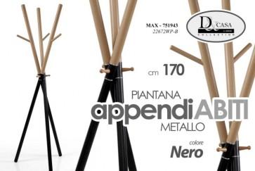 Piantana appendiabiti appendino in metallo colore nero 170 cm