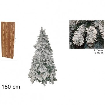 Albero di natale innevato bianco 180 cm abete snow folto realistico