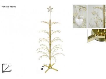 Albero di natale rotante espositore metallo 203 cm elettrico oro