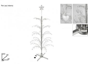 Albero di natale rotante espositore metallo 203 cm elettrico silver