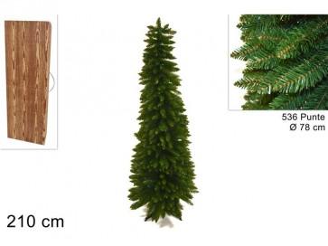 Albero di natale abete slim 210 cm con 536 rami