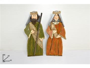 Nativita personaggi presepe in legno set 2 pz addobbi natale