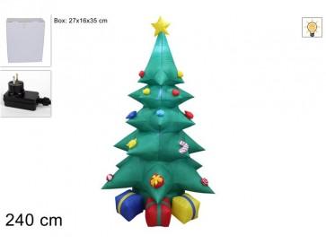 Albero di natale con doni gonfiabile con luci 240cm