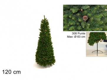 Albero di natale richiudibile c/pigne 120cm 308 rami