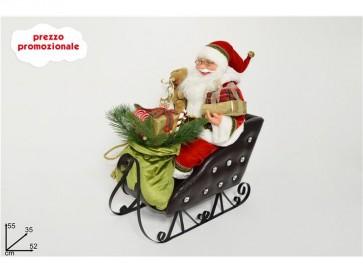 Babbo natale pupazzo con doni su slitta h. 55 cm arredo natale