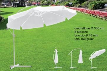 Ombrellone all.c/braccio bianco 300-8/48ub-001wh-8 s.48160gr/m2(f30.5)