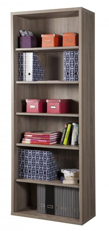 Libreria ufficio casa 6 ripiani in rovere cm 35,5x81,5x217h in truciolare