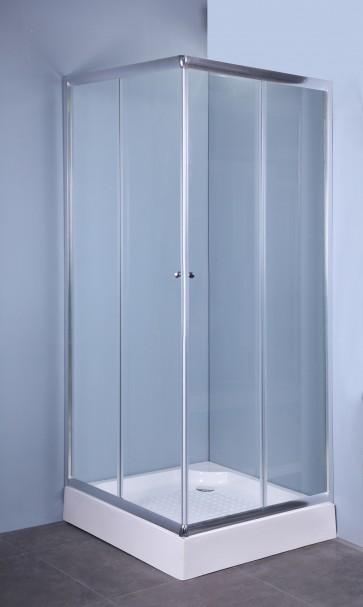 Box doccia cristallo trasparente mm.4 cm.70x70 'iglo' profili alluminio